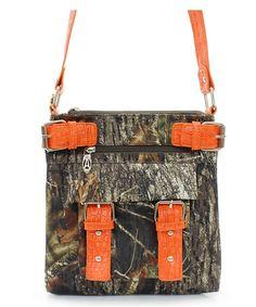 MOSSY OAK WESTERN CAMO BUCKLE MESSENGER BAG CROSS BODY PURSE ORANGE- ebay