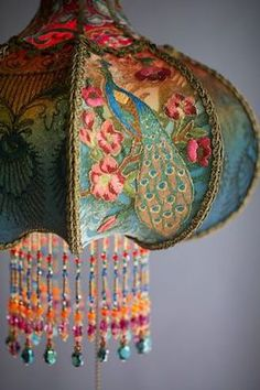 Detail of Bohemian Peacock Vintage Lamp Decor Hand Made by Artist and Designer C .Detail of Bohemian Peacock Vintage Lamp Decor hand-beaded by artist and designer Christine Kilger from Nightshades victorian peacock simple and Bohemian Living, Bohemian Style, Boho Hippie, Bohemian Lamp, Bohemian Interior, Vintage Bohemian, Bohemian Apartment, Bohemian House, Boho Chic