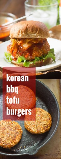 These tofu burgers are coated in sesame seeds, grilled to perfection, and topped with spicy Korean barbecue sauce and a dollop of kimchi.