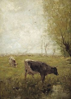 Willem Maris (The Hague , Cows in a meadow Farm Paintings, Paintings I Love, Animal Paintings, Cow Painting, Painting & Drawing, Landscape Art, Landscape Paintings, Landscapes, Farm Art