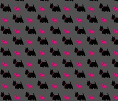 Scottie dog pink by C's fabric by carylpritchard on Spoonflower - custom fabric