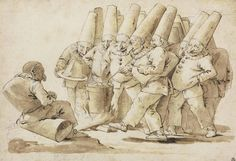 Giovanni Battista Tiepolo,   Punchinelli preparing a meal of gnocchi and parmesan cheese