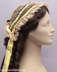 Fine Original c1850's Lady's Fancy Tulle Head Dress | eBay seller time-travelers, de-accessioned from a public museum;