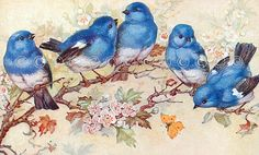 Blue Bird Applique Fabric Block Quilt Panel, Art Quilting, Sewing, Crazy Quilting, Craft Projects, B