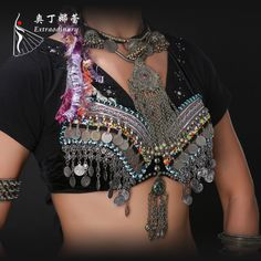 Tribal Belly Dance Coin Antique Silver Bra Metallic Chain Tassels Push Up C/D CUP Vintage Coins Top Belly Dance Bra, Dance Belt, Belly Dance Skirt, Tribal Belly Dance, Jazz Dance Costumes, Belly Dance Costumes, Salsa Dress, Ballroom Dance Dresses, Flamingo