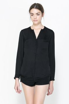 Casual V Neck Long Sleeve Black Cotton Blouse - Wegodress.com