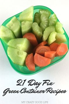 The 21 Day Fix program is awesome because you can eat anything. Just match it with it's container. These are ideas for your 21 Day Fix Green Container!