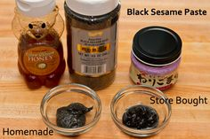 Black Sesame Paste Recipe Desserts with black sesame seeds, honey Black Sesame Paste, Black Sesame Ice Cream, Easy Japanese Recipes, Asian Recipes, Japanese Food, Japanese Dishes, Making Sweets, Paste Recipe, Homemade Black