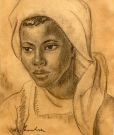 Maria Magdalena Laubser, known as Maggie Laubser Country: Republic of South Africa Style: Portraiture/ Realism/ Figurative/ Expressionism Me. African Paintings, Drawing Sketches, Drawings, South African Artists, Color Pencil Art, Art Techniques, Black Girl Magic, Black Art, Figurative Art