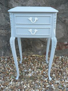 Shabby Chic Louis XV Style Bedside Cabinet/Nightstand - Annie Sloan Paris Grey