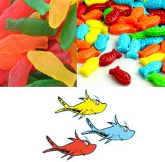1000 images about dr suess one fish two fish baby shower for Swedish fish colors