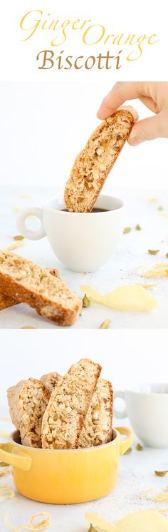 These sensational Ginger Orange Almond Biscotti are a little bit spicy and bit sweet! They have notes of ginger, orange, cardamom and cinnamon all baked to crispy perfection. Perfect for dunking in coffee or just snacking! Italian Cookies, Italian Desserts, Italian Recipes, Italian Foods, Cookie Desserts, Cookie Recipes, Dessert Recipes, Biscotti Cookies, Almond Cookies