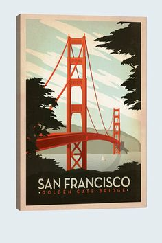 "Golden Gate Bridge, San Francisco California 19""x13"" Canvas Print - Canvas Print: - Artwork : Thrillist"