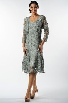 Soulmates C9126 Crochet Beaded Silk Lace Fit-n-Flare Tea Length 2 pc Jacket Dress (Missy, Plus Sizes)