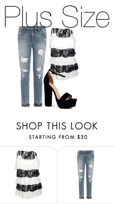 """""""Plus Size"""" by child1of1apollo ❤ liked on Polyvore featuring Joe's Jeans and Boohoo"""