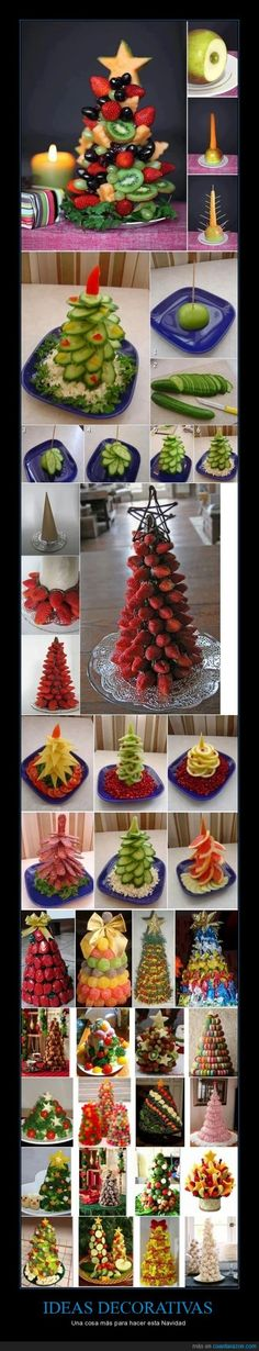 Edible Christmas trees for buffet tables made of various kinds of food - vegetables fruits . Fruit Christmas Tree, Christmas Goodies, Christmas Desserts, Christmas Treats, Holiday Treats, Holiday Recipes, Christmas Holidays, Christmas Decorations, Veggie Christmas