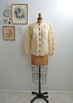 Vintage 1960s Fisherman Sweater - 60s Cable Knit Cardigan -