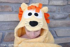 Lion Hooded Towel Tutorial by CrazyLittleProjects.com