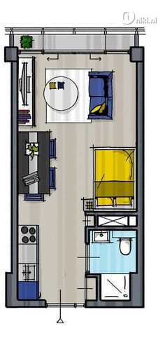 Renovation project of an old office building Apartment Layout, Apartment Plans, Studio Apartment, The Plan, How To Plan, Small House Plans, House Floor Plans, Small Apartments, Small Spaces