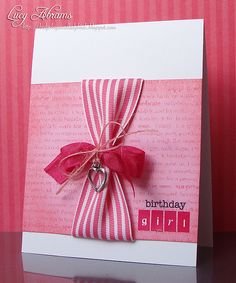 SU wide ribbon and a charm - I& obsessed with Lucy& Cards today! Birthday Cards For Women, Handmade Birthday Cards, Greeting Cards Handmade, Happy Birthday Cards, Ribbon Cards, Paper Cards, Scrapbooking, Scrapbook Cards, Card Making Inspiration