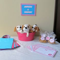 "Puppy ""adoption"" as ""treat bag"" for birthday party. I am in love with this idea! How awesome for a little girl! @Shey brier"