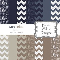 Mrs. Blue-(14)-12x12-300dpi-Instant Download-Digital Paper-Chevron-Mrs.-Wedding-Bridal-Blue-Tan-Cream-Linen by PaperWillowDesigns on Etsy