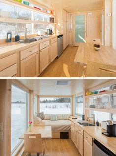 Kitchen Design Ideas – 14 Kitchens That Make The Most Of A Small Space | The kitchen area of this tiny home includes plenty of storage space to help keep things organized instead of being cluttered.