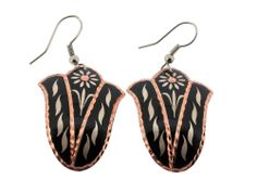 Copper Earrings Black Wire Dangle Hooks Jewelry by Bora Mediterranean Style