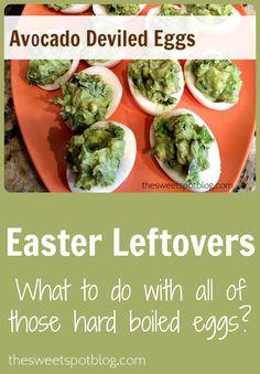 Avocado Deviled Eggs by The Sweet Spot Blog -- So yummy!! -- #deviledeggs #recipes #hardboiledeggs