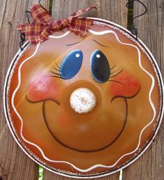 Gingerbread Girl Hand Painted Upcycled Pot Lid by PaintingByEileen