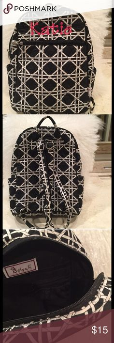 Embroidered Katie Backpack If you are fortunate enough to have a Katie in your life this will be perfect for her! Like new barely used soft cloth backpack black and white geo print with hot pink embroidered Katie. Accessories Bags