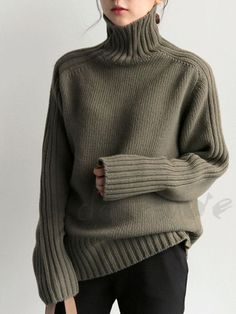 For Sale - Korean Style Solid Turtleneck Knitted Sweater Autumn and Winter Minimalist Ladies Elegant Causal Knitwear Loose Tops Pullovers Loose Sweater, Ribbed Sweater, Cable Knit Sweaters, Long Sleeve Sweater, Knitwear Fashion, Knit Fashion, Image Fashion, Casual Outfits, Fashion Outfits