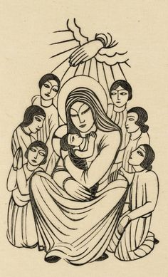 Eric Gill (1882-1940), 1925, Madonna and Child, with Children, Wood engraving on paper.
