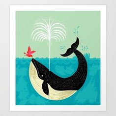 The Bird and The Whale Art Print by Oliver Lake - $15.00