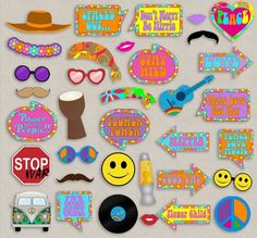 Hippie Party props, diy photo booth printables for your party. Just purchase the… summer – Woodland Wedding Ideas Trend 2019 Fiesta Flower Power, Flower Power Party, Hippie Birthday Party, Hippie Party, 70th Birthday, Party Props, Party Themes, Theme Parties, Party Hats