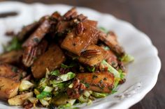 Caramelized Tofu Recipe... I'm not a fan of brussel sprouts but cauliflower or another veggie would work with the tofu