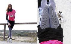 Get this look: http://lb.nu/look/8272063  More looks by Sofia Andromeda: http://lb.nu/sofiaandromeda  Items in this look:  Skirt Black Vintage, Roxy Top Dark Pink, Fishnets White, Leggings Black, Nike Sneakers Wedge