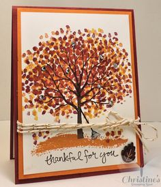Christine's Stamping Spot: Video - Making a Fall Scene with Stampin' Up!'s Sheltering Tree Stamp Set Christine's Stamping Spot: Video - Making a Fall Scene with Stampin' Up!'s Sheltering Tree Stamp Set Thanksgiving Greeting Cards, Fall Cards, Holiday Cards, Thanksgiving Tree, Thanksgiving Drinks, Making Greeting Cards, Ideas Geniales, Stamping Up Cards, Cards For Friends