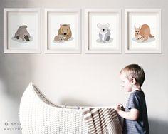 Australian Animal nursery art. Outback nursery prints. Aussie
