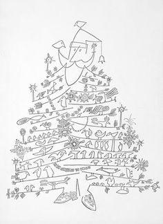 "saul steinberg cartoon ""santa as a christmas tree"""