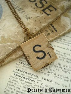 Vintage SCRABBLE Letter S Necklace. Lovely Old Wood Tile Initial Wrapped in Antiqued Brass Filigree. Monogram Necklace. Rustic Jewelry.