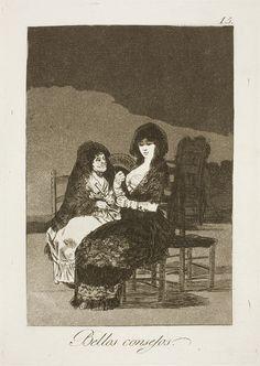 """Francisco de Goya: """"Bellos consejos"""". Serie """"Los caprichos"""" [15]. Etching, aquatint and burin on paper, 215 x 151 mm , 1797-99. Museo Nacional del Prado, Madrid, Spain"""