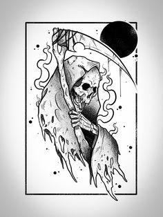 Blackwork, Tattoo Sketches, Tattoo Drawings, Gotik Tattoo, Grim Reaper Tattoo, Black White Tattoos, Forest Tattoos, Alien Tattoo, Graffiti Drawing
