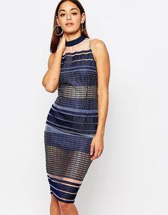 Missguided+Mesh+Embroidered+Stripe+Midi+Dress