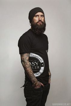 beaded man | Bearded tattooed man