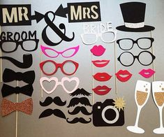 Wedding Photobooth Props Holiday Photo Booth Props Set of 30 by PureSimpleThings on Etsy Bachelorette Photo Booth, Wedding Photo Booth Props, Diy Wedding, Dream Wedding, Wedding Day, Bride With Glasses, Ideias Diy, Holiday Photos, Wedding Planner