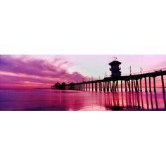 Huntington Beach Pier at sunset Huntington Beach California USA Canvas Art - Panoramic Images (13 x 36)