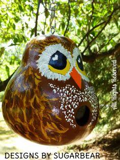 Gourd+Art+Ideas | Owl Birdhouse Hand Painted Gourd - Deisngs by Sugarbear Original Art ...