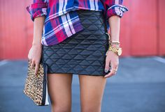 Leather Skirt Outfit Inspiration. #leatherskirt #leather #skirt #repeatoffender #howtostyle #howtowear #ootd #outfitinspiration #plaid #leopardprint