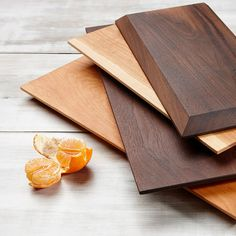 Canadian Cherry Hardwood Serving Slab _________________________ Solid Slab Clean and Elegant Beautiful Display Piece Easy to Pick Up ________________________ This board highlights the natural beauty of the wood grain. The edges are beveled, which gives the serving board the look of